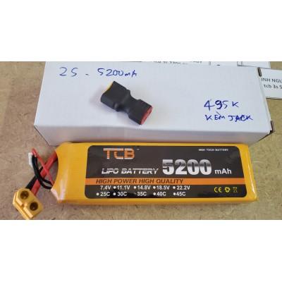 PIN LIPO 2S 7.4V DUNG LƯỢNG CAO 5200MAH 35C CHO XE 1/10 1/8
